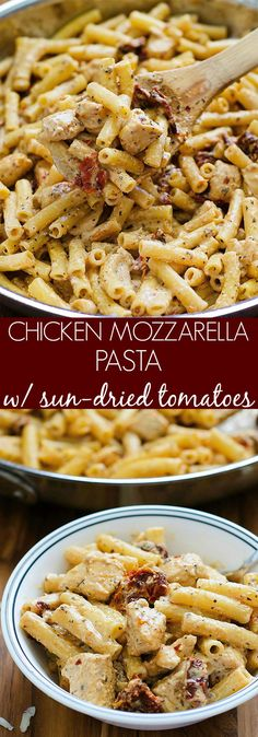 CHICKEN MOZZARELLA PASTA - 1 pound boneless skinless chicken breasts, salt and pepper, 8 oz Penne pasta 1 small jar (4 oz) sun-dried tomatoes in oil, 3 cloves garlic, 1/2 tsp paprika 1 1/2 C half and half, 1 C Mozzarella cheese, 1 T dried basil, 1/4 tsp crushed red pepper flakes