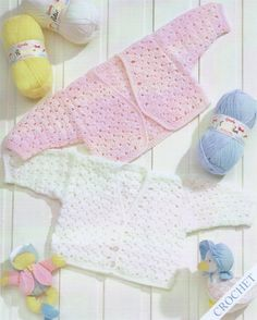 Baby Cardigan and Bolero PDF Crochet Pattern : Premature Babies  / Toddler 2 - 3 yrs . 12 - 22 inch chest . DK . Instant Digial Download