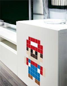 Un mario en stickers pixels