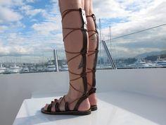 Gladiator sandals Tie up leather sandals by GreekChicHandmades,.