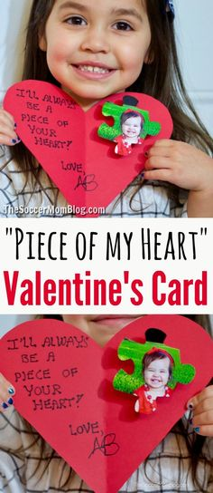 Personalized pop-up photo card that kids of all ages can make for Valentine's Day! Click for free printable pattern. #kidscrafts #valentinesday #papercrafts #cards via @https://www.pinterest.com/soccermomblog