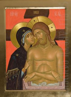 painted orthodox icon weep not for me o mother Religious Images, Religious Icons, Religious Art, Byzantine Icons, Byzantine Art, Mary Magdalene And Jesus, Christ Tattoo, Russian Icons, Virgin Mary