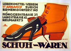 Schuh-Waren  ARTIST:     Oesch  YEAR:     ca 1920  - See more at: http://juliasantengallery.com/gallery-page/page/9/?price_from&price_to&category=76&artist&item_num&size&keyword#sthash.99TCT4kD.dpuf