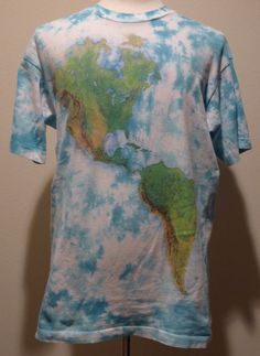 90s VTG WORLD MAP ALL OVER PRINT T SHIRT sz L by LIQUID BLUE TIE DYE 43c678a54