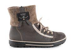 Rieker - Dámské zateplené kotníkové tenisky s přehybem a zipem šíře G Z8774-47 / šedá Zip, Boots, Winter, Fashion, Crotch Boots, Winter Time, Moda, Fashion Styles, Shoe Boot