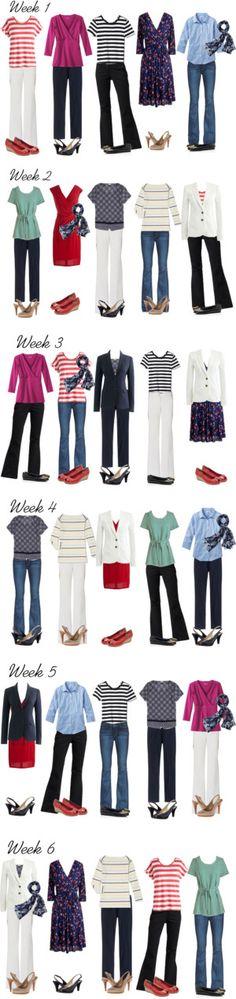 10 tops, 2 dresses, 3 slacks, 1 pair jeans, 5 pairs of shoes