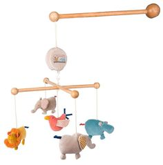 Musical mobile intended for visual and auditory stimulation with fabric ornaments and a wooden frame. All the Papoum characters, the elephant, the hippo and their pal the bird, dance around in the middle of the savannah to lull baby to sleep. Baby Musical Mobile, Baby Mobile, Designers Guild, Mobiles, Fabric Ornaments, Kid Toy Storage, Hanging Mobile, Baby Kind, Baby Hacks