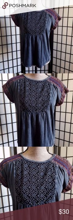 """Lucky Brand Small Top Lucky Brand Women's Size Small Top Blue Embroidered Cap Sleeve Soft Cotton Bust:-21"""" Neck to bottom:-23"""" Lucky Brand Tops"""