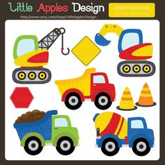 Construction Clip Art / Construction Clipart / Truck by DreamyDuck Construction Images, Construction Crafts, Construction Birthday, Crochet Car, Free Crochet, 2 Clipart, Animated Clipart, Car Blanket, Hawaiian Party Decorations