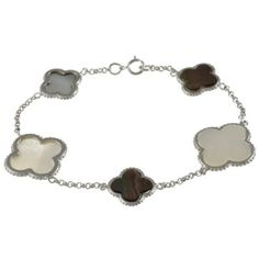 """Amazon.com: Sterling Silver 7.25"""" Black and White Mother of Pearl Clover Bracelet: Jewelry $49.99"""