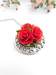 Red necklace Rose jewelry Flower necklace Rose pendant Polymer