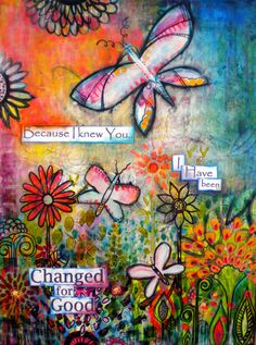 Because I knew You original painting collage mixed media 18 x 24