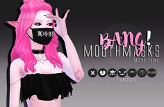 "milky-fairy:  "" Bang! Mouth Masks ♡     • They come in 7 different patterned swatches.  • Females: Teen-Elder.  • Special thanks to: Zauma for the mesh and Google for the patterns.  You need to download Zauma mesh for this to work!  If they have any glitches..."