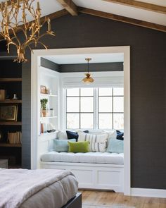 Are you looking for ideas for your window nook? We've got a collection of incredible window nook ideas and designs. Bedroom Nook, Bedroom Windows, Home Decor Bedroom, Bedroom Ideas, Master Bedroom, Bay Windows, Diy Bedroom, Bedroom Colors, Vaulted Ceiling Bedroom