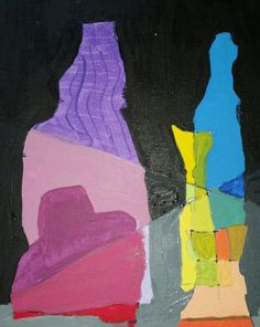 Beautiful painting made from overlapping blind contour drawings of bottles.  Drawing & Painting class for Kids in Montgomery County PA.
