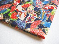 Japanese Cotton Kimono Fabric Japanese fan by PeacyFabrics on Etsy, $7.50