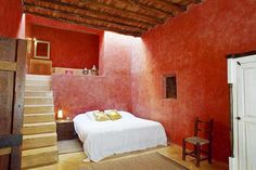 Red bedroom at the mountains (Ibiza)