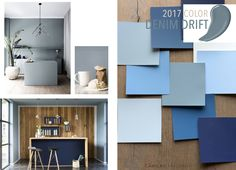 Mood Board - Trend Board. Denim Drift is timeless and a versatile kind of grey-blue. It will embody our lives in 2017 by adopting different characteristics. Camila Straschnoy
