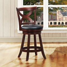 Gorgeous dark cherry finish adds even more flair to this comfortable counter stool. Featuring an X-back design and a 360-degree swivel seat with dark brown vinyl, this counter stool will accent your bar or kitchen counter beautifully.