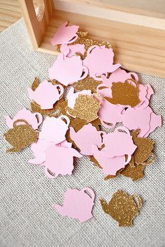 Love this adorable tea pot confetti!  Perfect for a pink and gold tea party or Alice in OneDerland themed first birthday.