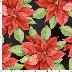 Christmas Poinsettias Fabric  Songbird Christmas by Jambearies