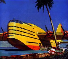 Fantasy Seaplane  Industry moves on Timken Roller Bearings (1946). This colorful illustration by George Shepherd takes off daily.