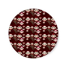 Cute Red and Pink Sock Monkeys Collage Pattern Stickers