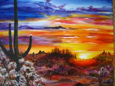 desert painting with cactus, desert flowers, and what looks like a sunrise. Not sure what style it is done in ( acrylic paints, oils paints, or Watercolors). | Painting, art, artwork, wall art, home decor, sunset painting, fine art impressionist painting |