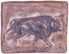 Toro 1-2003  Dibujo Técnica mixta por PINACOTHECULA en Etsy
