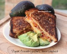 This is one of the best Bacon Avocado Grilled Cheese sandwich recipes I've ever tried! It's made with three different types of cheese and thick cut bacon!