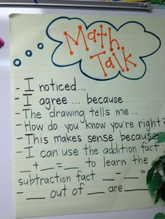 Math Talk  (Possible oral or written response stems)