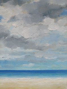 SALE Blue Sea Cloudy Sky  Original Seascape Oil by wendydoakart, $60.00