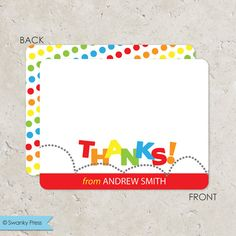 These bounce thank you notes are perfect to go along with a bounce or trampoline birthday party. Pump in Up, Sky High, or just a blow up bouncer in