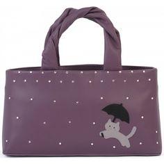 Ciccia Cat In The Rain Leather Grab Bag Handbag Purse