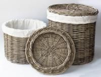 Ratanový koš Laundry grey 51168 - velký Kliknutím zobrazíte detail obrázku. Laundry Basket, Wicker Baskets, Kos, Rattan, Grey, Detail, Houses, Home Decor, Wicker