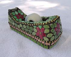 Pink & green mosaic tape dispenser by Elsieland Mosaics Mosaic Crafts, Mosaic Art, Mosaic Tiles, Stone Mosaic, Mosaic Glass, Glass Art, Mosaic Designs, Mosaic Patterns, Arabesque