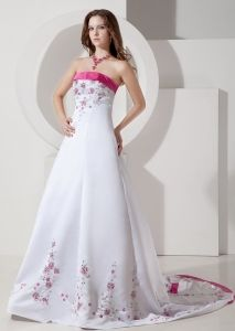 wedding dresses with pink flowers
