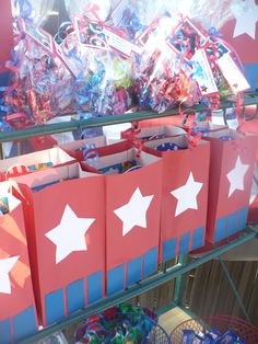 Party favors for a Captain America Birthday Party. The party for my grandson was great fun. Inspired by Pinterest.