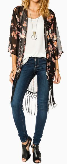 Floral kimono, white tee, skinny jeans.. love it all. Of course the shoes make it and who knows where to find them..