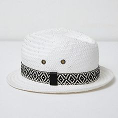 Mini boys white aztec trim straw trilby hat