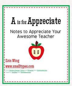 Use these free printables for students to write a note of appreciation to other teachers and staff in the building. (The principal, specialists, support staff...Anyone who could benefit from a little extra appreciation on Teacher Appreciation Day!) -Or print them at home for your own child's teacher!
