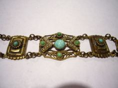 Vtg Antique Victorian Art Nouveau Deco Peking Czech Glass Max Neiger Bracelet