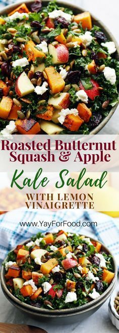 A delicious and healthy fall harvest salad! This colourful vegetarian salad is filling enough to be a meal and features roasted butternut squash, toasted pumpkin seeds, massaged kale, and a quick homemade lemon dressing! Appetizer   Side Dish   Vegetarian
