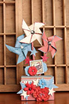 What an adorable centerpiece for any table for 4th of July designed by DTM, Christine Ousley.  Great use of G45's A Place in Time collection and Petaloo's Darjeeling flowers.