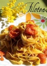 Tagliatelle with roasted Ciliegini tomatoes, Achovies and Botargo