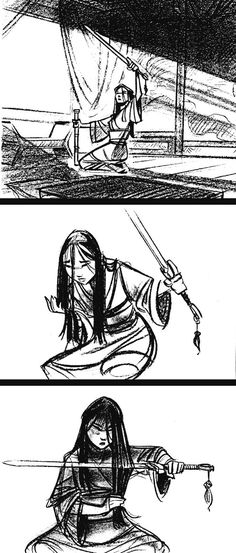 Concept art for Mulan (1998) by Walt Disney Animation Studios. This storyboard is interesting because you can tell that it is mulan but things were changed for the film