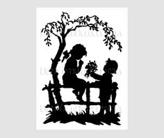 Boy and Girl Silhouette, Silhouette Pattern, Children Silhouette, Cross Stitch… Cross Stitch Silhouette, Girl Silhouette, Vintage Silhouette, Silhouette Images, Cross Stitch Embroidery, Cross Stitch Patterns, Bubble Drawing, Giving Flowers, Crafts With Glass Jars