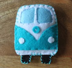 VW Classic campervan Teal / Turquiose Toy by Stitched