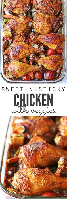 A delicious oven roasted recipe for sweet and sticky chicken. This easy recipe will please the entire family and only takes minutes to prepare! #sweetfood #stickyfood #chicken #veggies