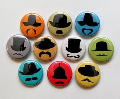 Hats and Mustaches Set of 10  Buttons Pinbacks by theangryrobot, $6.25